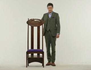 Artist Lachlan Goudie with one of Charles Rennie Mackintosh's iconic chairs