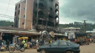 A burnt building