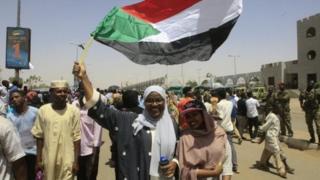 Wasu masu zanga-zanga a Sudan