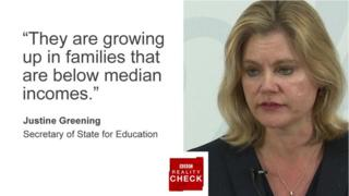 Justine Greening saying: They are growing up in families that are below median incomes