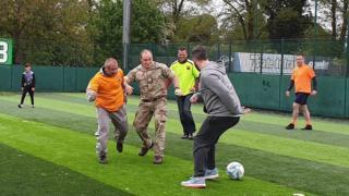 Northampton's new homeless football team training at Goals