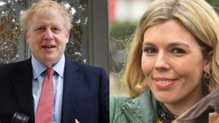 Boris Johnson for left and Carrie Symonds for right
