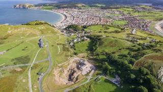 Aerial view of Great Orme Mines and Llandudno