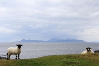 View from Smirisary looking over towards Eigg and the small Isles