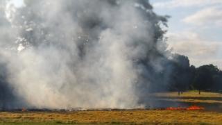 Fire spreading on grassland in Gunthorpe.