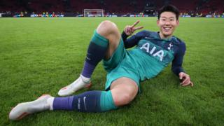 Heung-Min Son of Tottenham Hotspur after the final whistle during the UEFA Champions League Semi Final second leg match between Ajax and Tottenham Hotspur