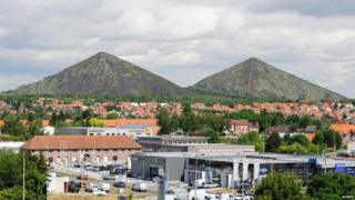 Loos en Gohelle, the twin slag heaps of pit head 11/19, mine site listed as World Heritage by UNESCO