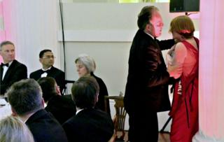 Mark Field confronts Greenpeace activist Janet Barker