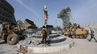 Kurdish statue pulled down in Afrin on 18 March 2018