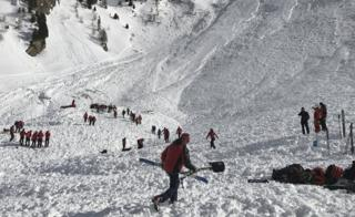 "Search teams work at the site after an avalanche went down at the ""Jochgrubenkopf"" mountain in the Austrian Alps (15 March)"
