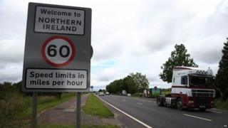 Vehicles cross border between Northern Ireland and the Republic of Ireland