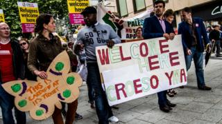 A 'refugees welcome' march in Cardiff; the area is one of four that currently house asylum seekers in Wales