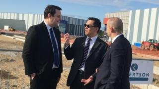 Tees Valley mayor Ben Houchen and TWI's Director of Innovation and Skills Prof Tat-Hean Gan at TeesAMP. with Northern Powerhouse Minister Jake Berry