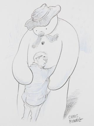 "The Snowman, by artist Chris Riddell, to mark the the book""s 40th anniversary."