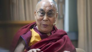 Tibetan spiritual leader the Dalai Lama speaks at a panel discussion organized by US based American Enterprise Institute (AEI) at his residence in Dharmsala, India, Wednesday, Nov. 4, 2015.
