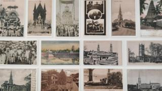 A collection of postcards showing people, monuments and other sights from different Indian cities