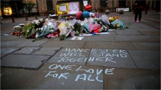 Floral tributes to Manchester victims