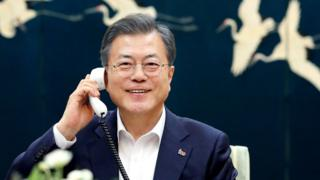 In this handout image provided by South Korean Presidential Blue House, South Korean President Moon Jae-in talks on the phone with U.S. President Donald Trump over the upcoming second summit between U.S. President Donald Trump and North Korean leader Kim Jong-un on February 19, 2019 in Hanoi, Vietnam.