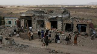 محل بمباران شده در نزدیک صنعا