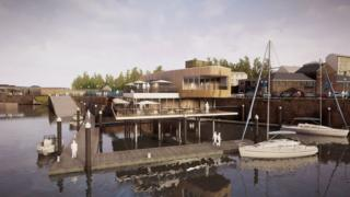 An artist's impression of the proposed Milford Haven waterfront development
