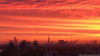 Red sunrise over London