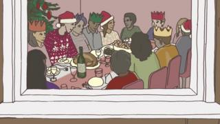 A group of care leavers having Christmas dinner together