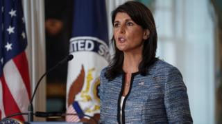 US envoy to the UN Nikki Haley announces the withdrawal