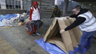 Cardboard tent in Brussels