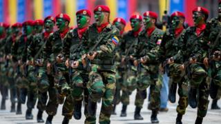 Venezuelan soldiers parading