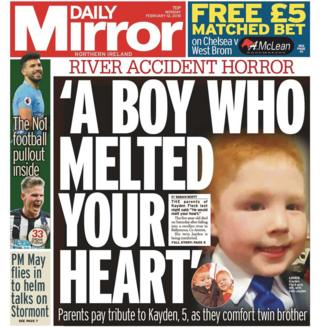 The front page of Monday's Daily Mirror