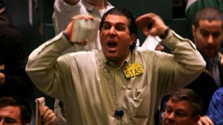 Traders on the NYMEX yelling trades
