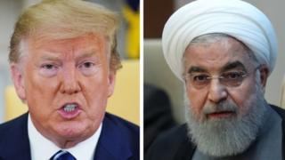 Trump (ibubamfu) avuga ko itangazo rya Rouhani (iburyo) ari iryo ubujuju n'ibitutsi