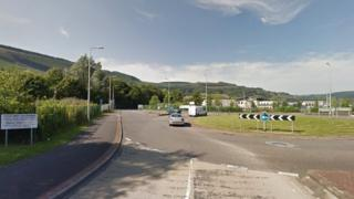 Roundabout by Mountain Ash Community Hospital
