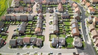 Aerial view of northern UK suburbs