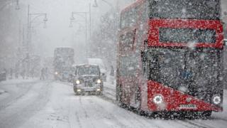 Snow on Oxford Street, London