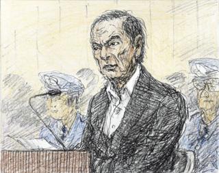 Ilustração mostra Carlos Ghosn ao ser ouvido pela Justiça japonesa no dia 8 de janeiro