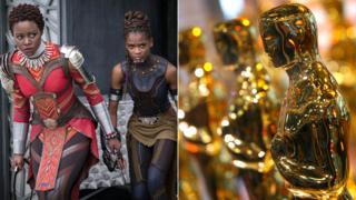 Black Panther y una estatuilla del Oscar