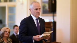 Malcolm Turnbull is sworn in at Government House in Canberra, Australia (15 Sept 2015)