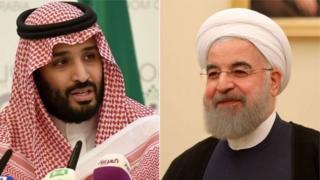 Príncipe saudita Mohammed bin Salman (izquierda) y el presidente de Irán, Hassan Rouhani