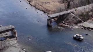 A bridge dismantled by suspected metal thieves in Russia's Murmansk Region