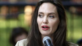 Angelina Jolie at the International Peace Support Centre in Nairobi, Kenya