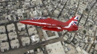Red Arrows jet over Karachi, Pakistan
