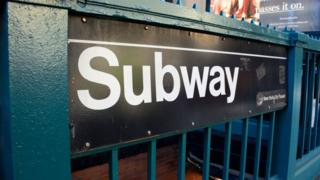 A New York subway entrance sign
