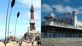 Blackpool tower and Brighton pier