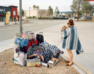 Family at roadside