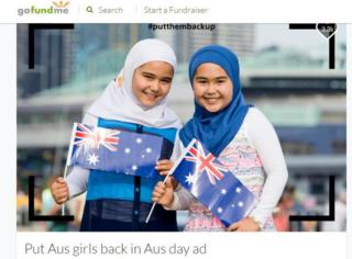 GoFundMe page showing two girls with Australian flags