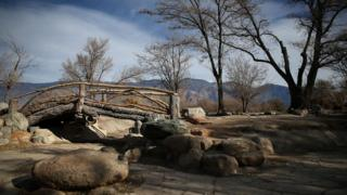 A Japanese garden at a former internment camp at the Manzanar National Historic Site in California