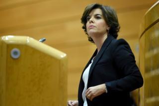 María Soraya Sáenz de Santamaría Antón in the Spanish Senate in Madrid, 26 October