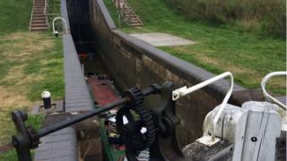 Narrowboat in drained lock