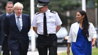 Boris Johnson and Home Secretary Priti Patel with Chief Constable of West Midlands Police Dave Thompson